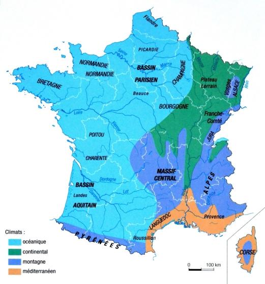 Carte des différents climats en France