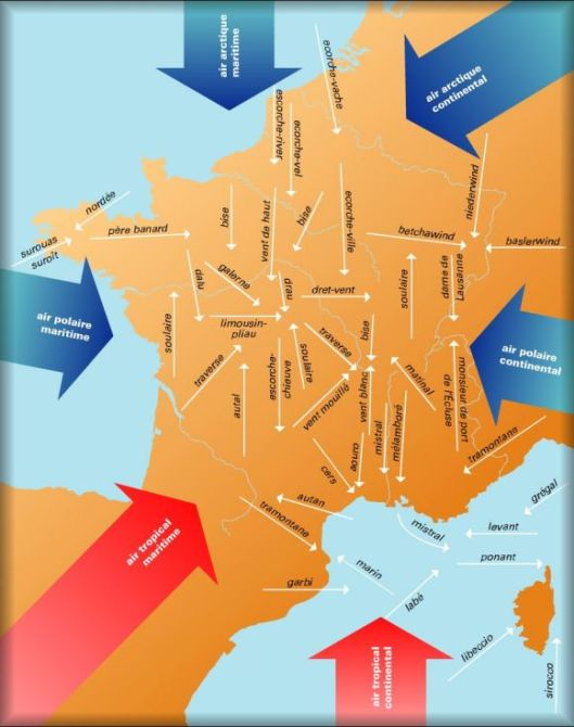 Carte des vents dominants en France